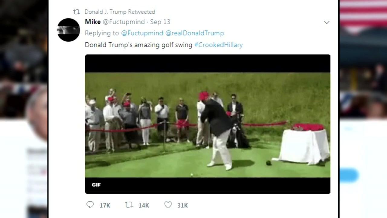 Trump retweets mock video of golf ball seen striking Hillary Clinton
