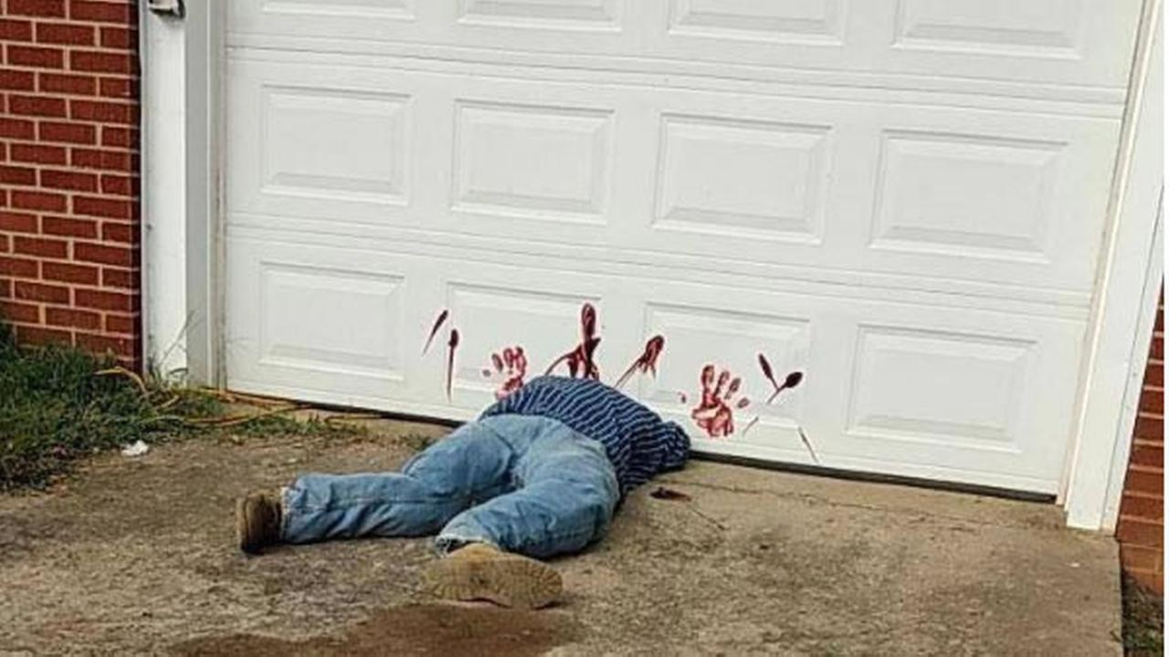 A gory garage door Halloween display in Tennessee is seen in this undated image.