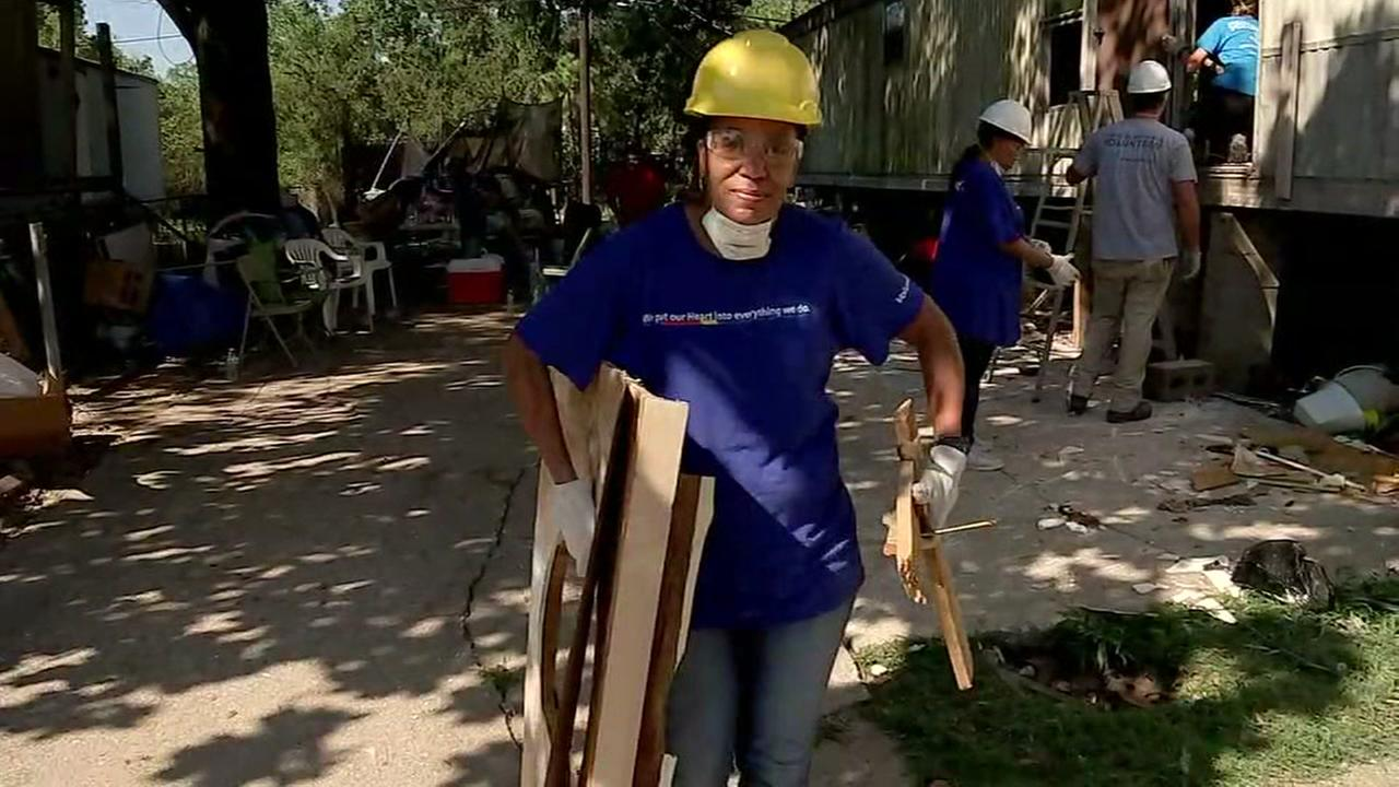 Volunteers gut once-flooded homes in northeast Houston