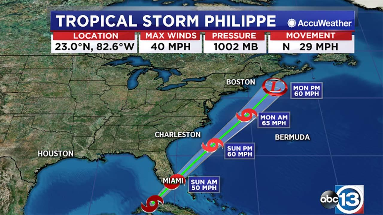 Tropical Storm Philippe forms over Cuba; heading to Florida