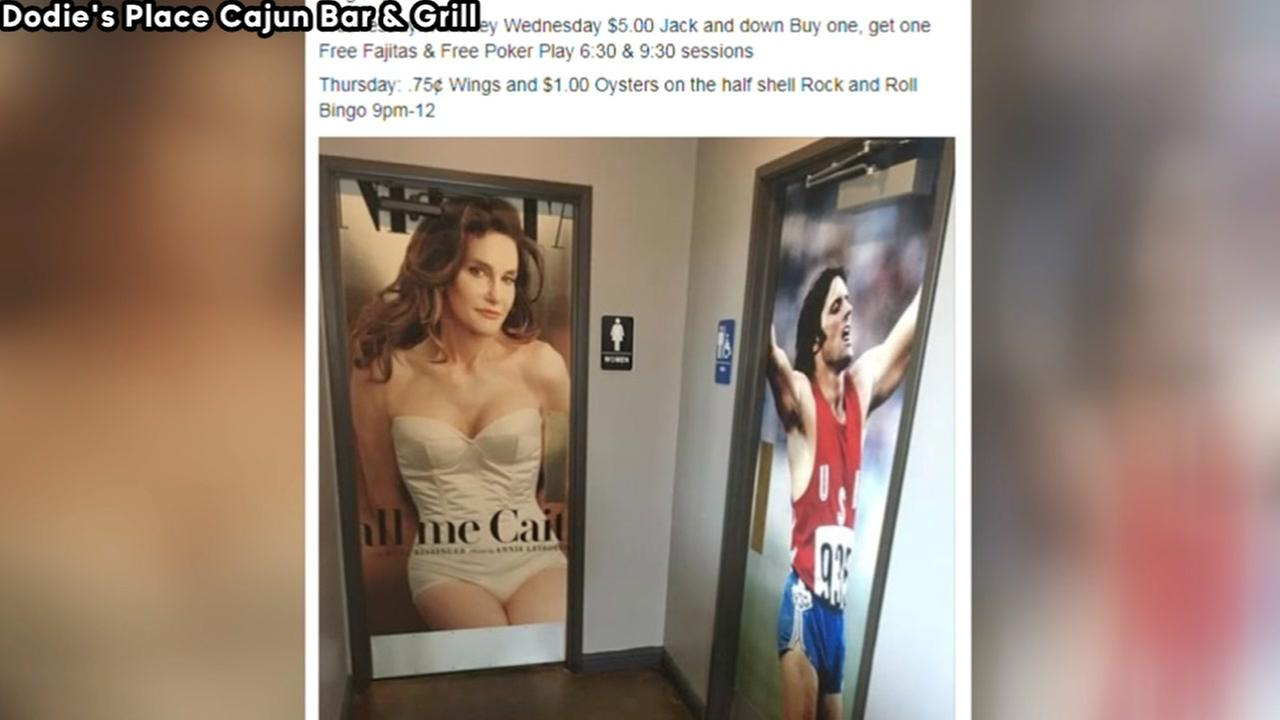 Bruce and Caitlyn Jenner photos on restaurant bathrooms causes controversy