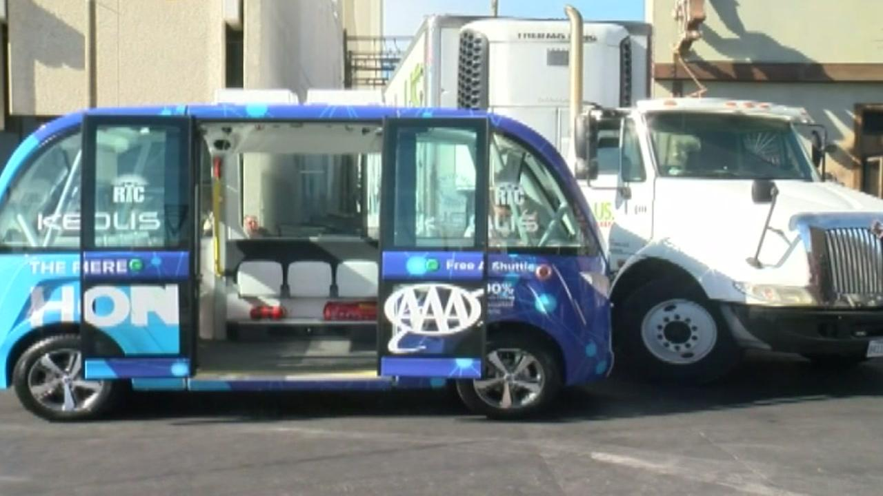 Self-driving shuttle involved in crash on first day in operation