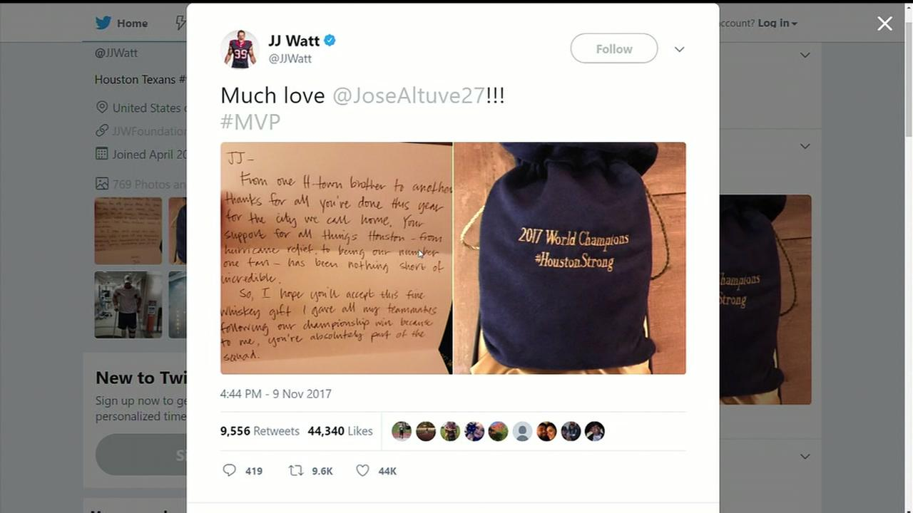 Altuve thanks Watt with whiskey and letter