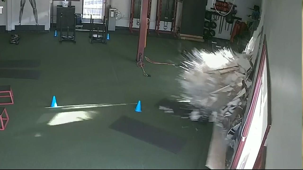 Car slams into Los Angeles gym with client inside