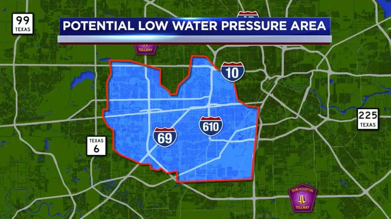 Southwest Houston residents could experience low water pressure for two weeks, starting Monday