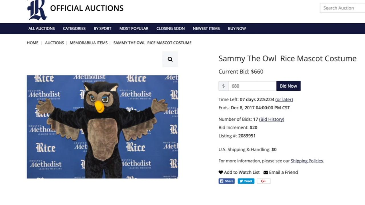 Rice University mascot costume for sale
