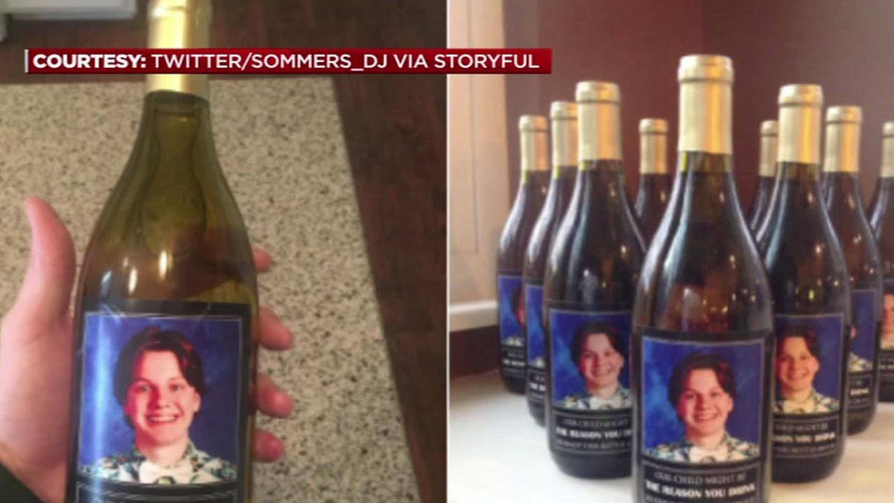 Parents give teachers wine bottles with sons face on them