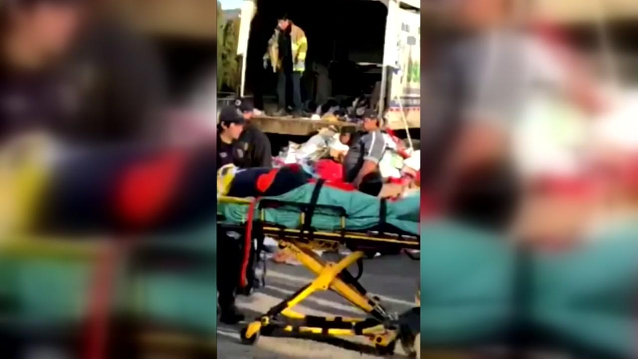 Man rescued from garbage truck