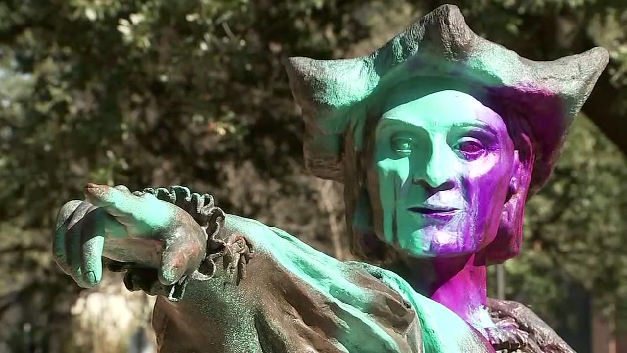 Christopher Columbus statue defaced in Houston