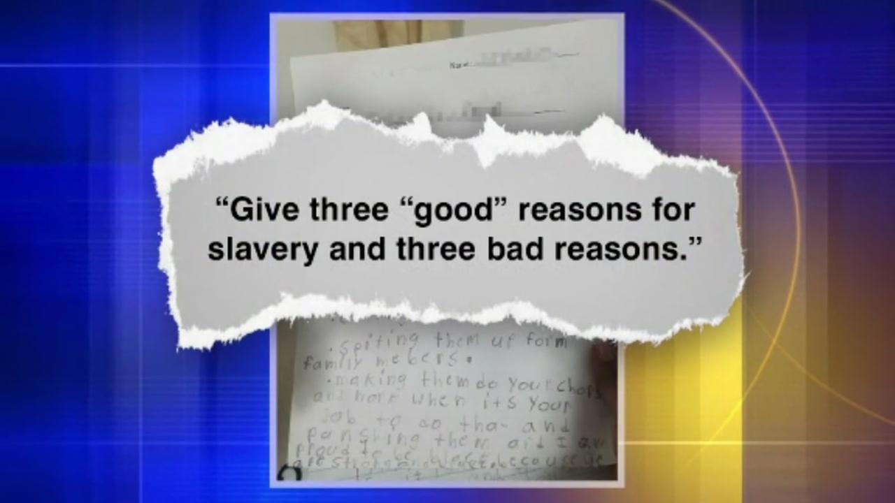 A homework assignment on slavery has sparked a backlash