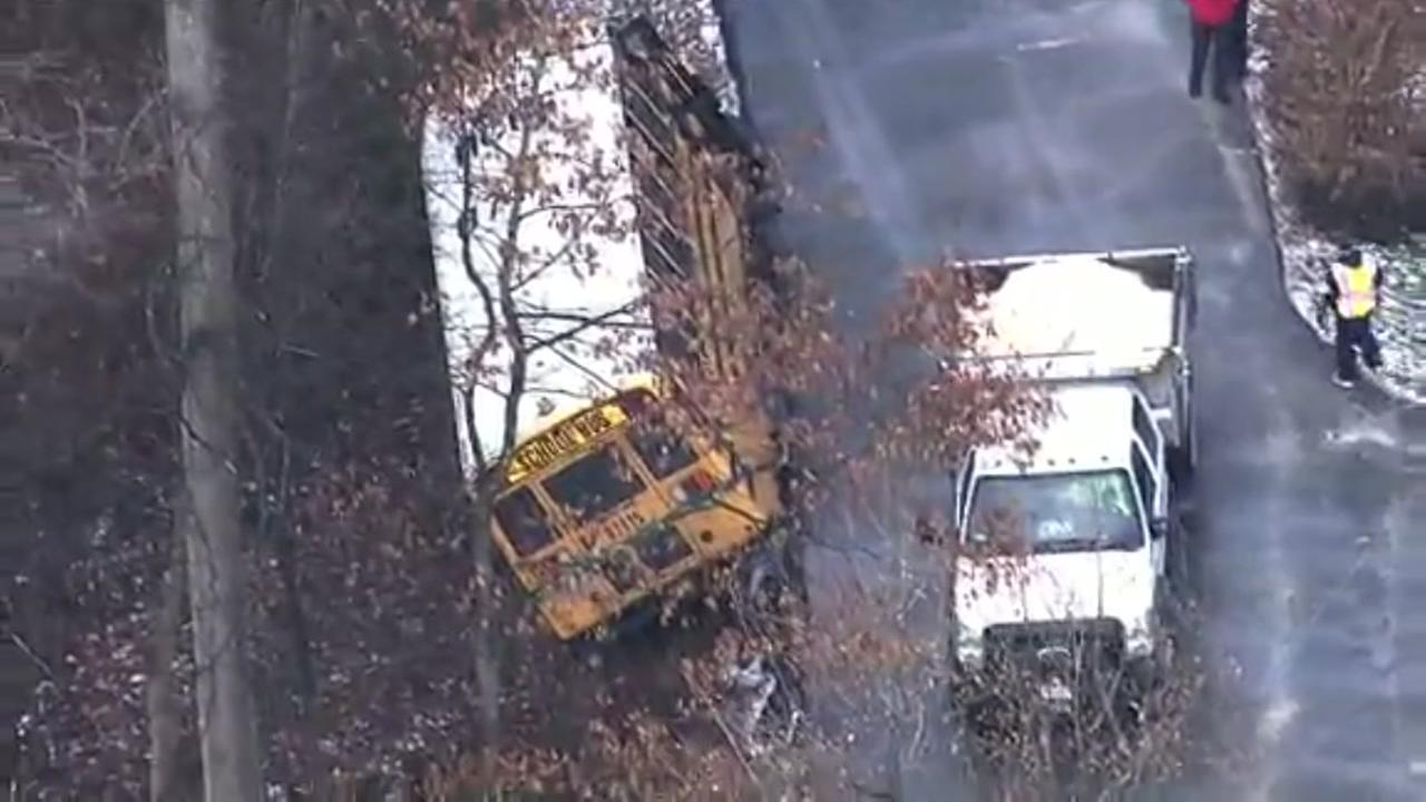 3 rescued after school bus slid into ravine on icy road in Maryland