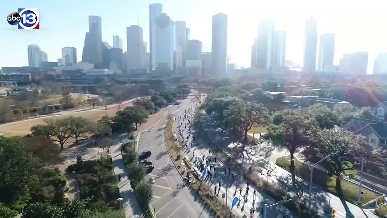 SkyDrone13 gets amazing views of the Chevron Houston Marathon