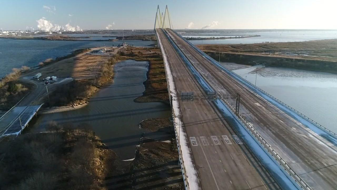 Drone video of Fred Hartman bridge