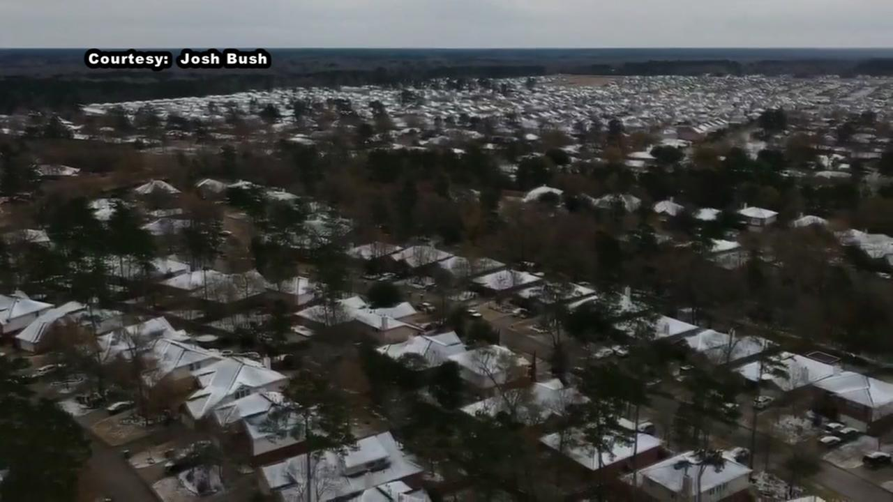 Drone video captures snowy rooftops in The Woodlands