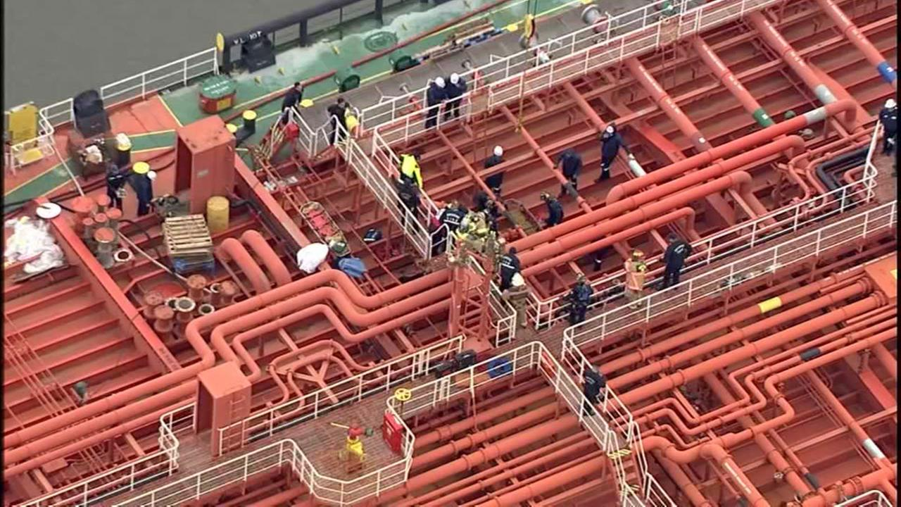 Crews rescue person trapped in cargo containing molasses