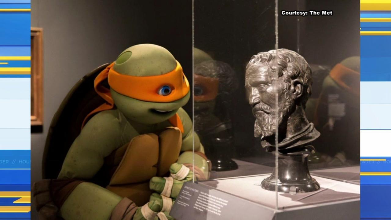 Michaelangelo the Ninja Turtle checks out namesake artists exhibit in NYC