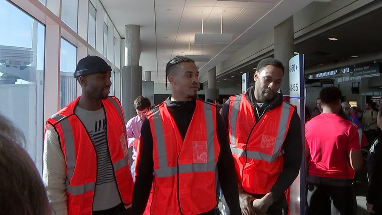 Houston Rockets players sub in for a shift at Southwest Airlines