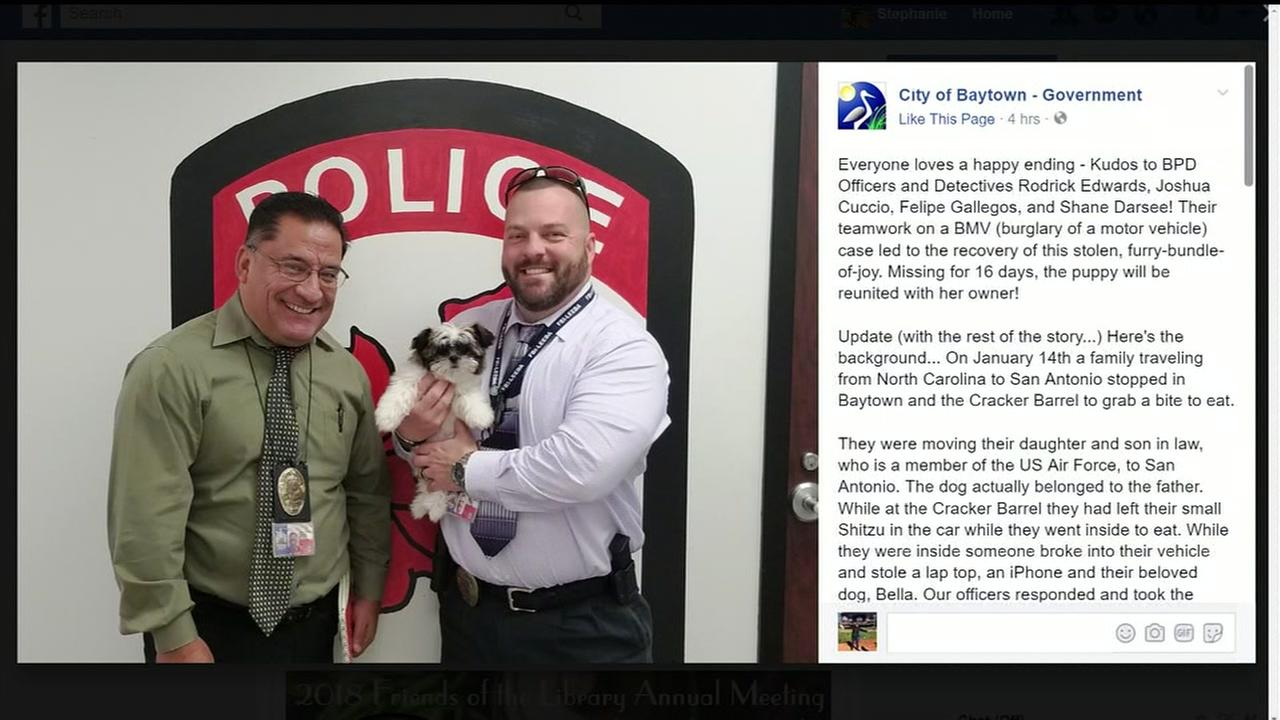 Family reunited with puppy taken in stolen car