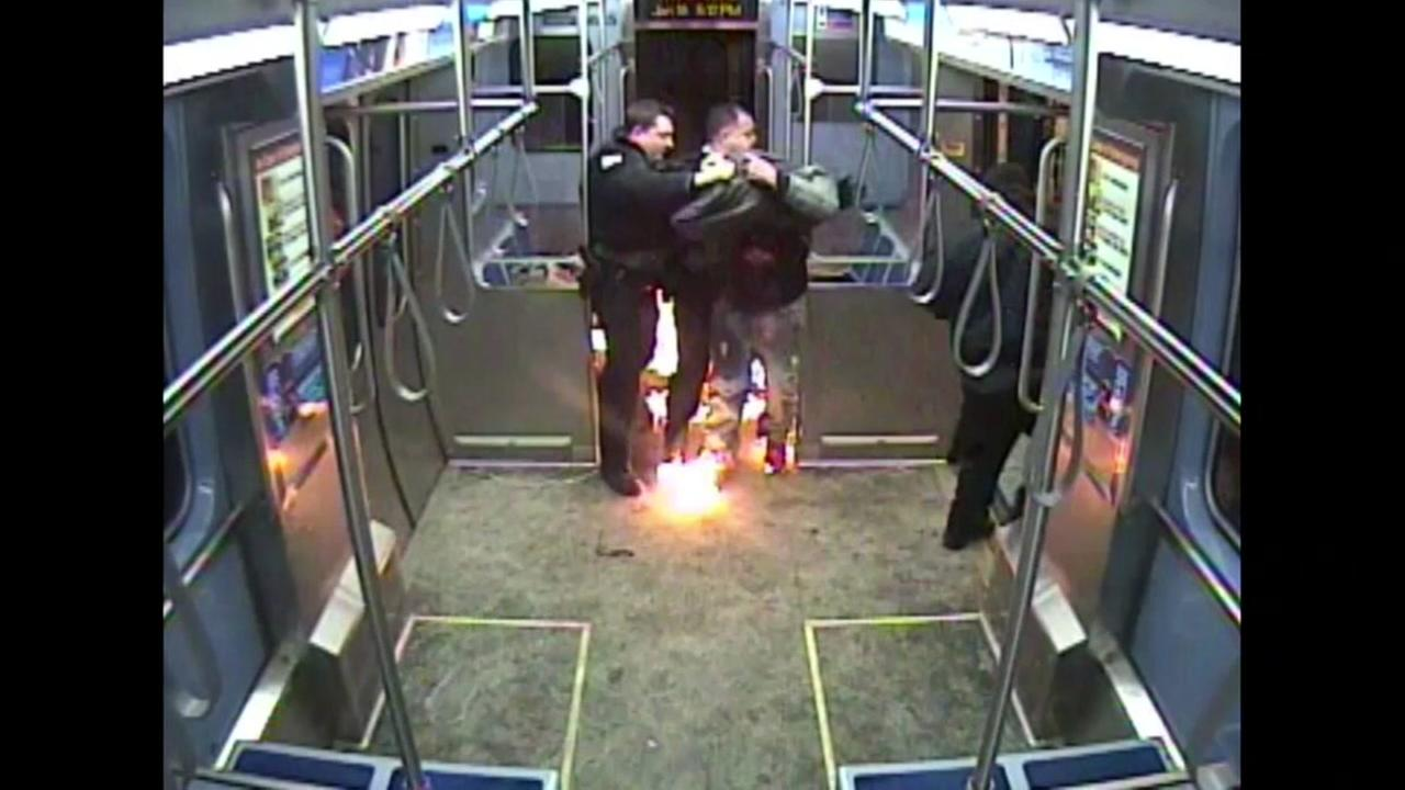 Officer injured when man tries to set train on fire