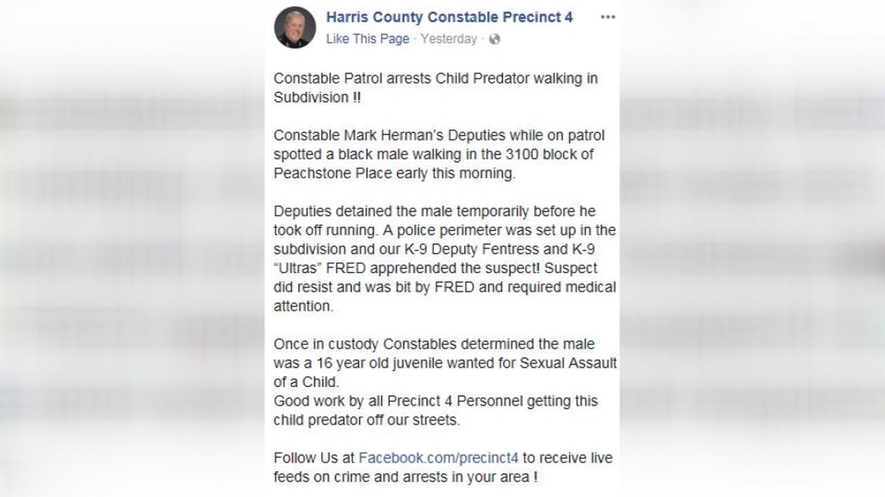 K9 team catches alleged teenage child predator walking in subdivision