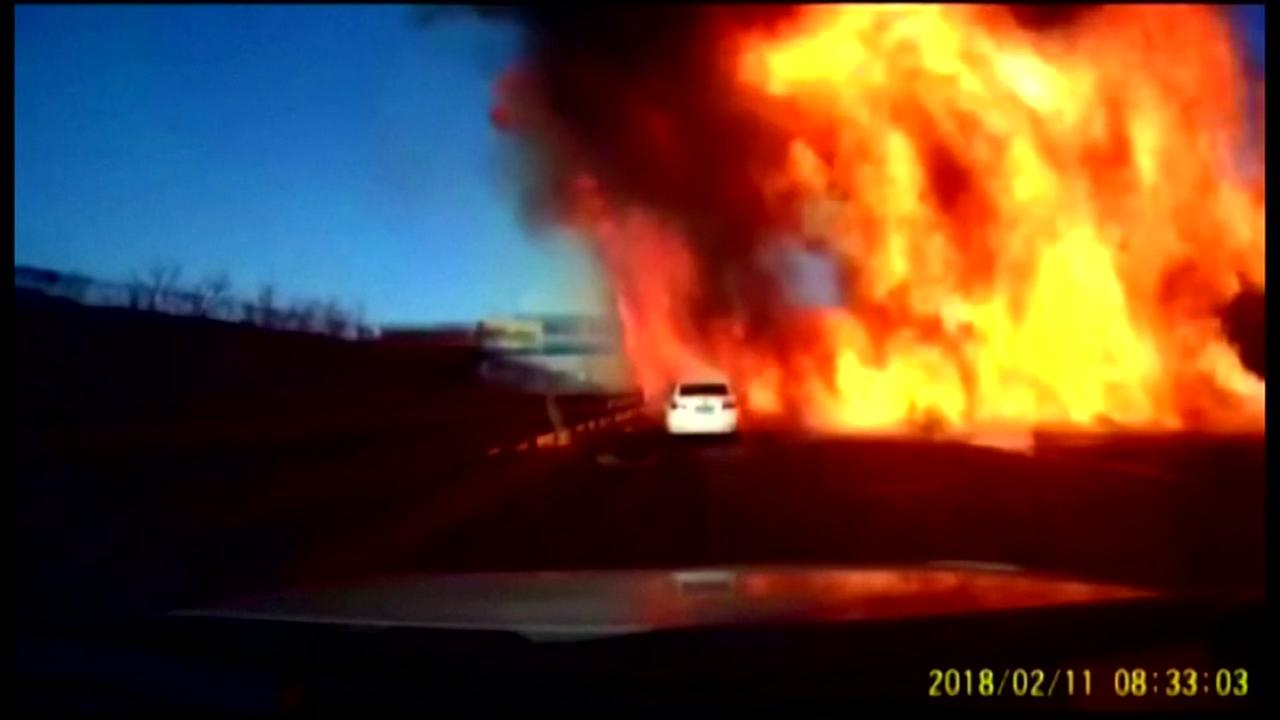 Truck carrying natural gas bursts into flames