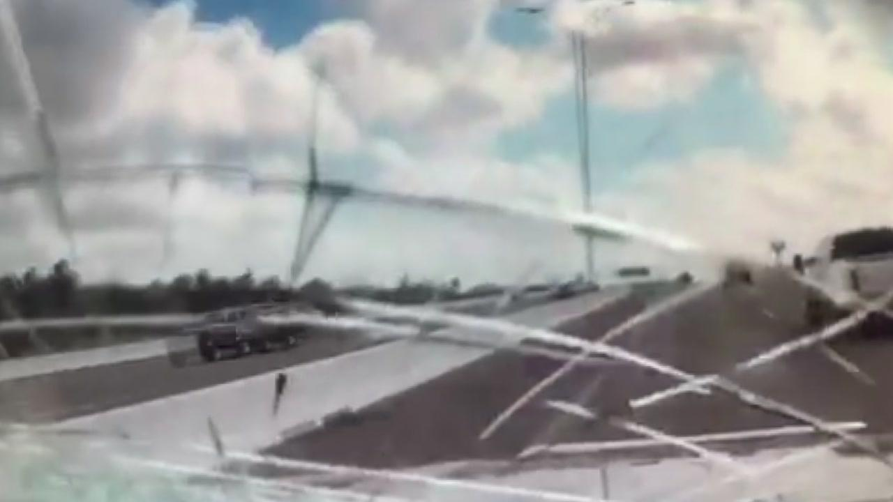 Driver hit in chest by rock that went through windshield