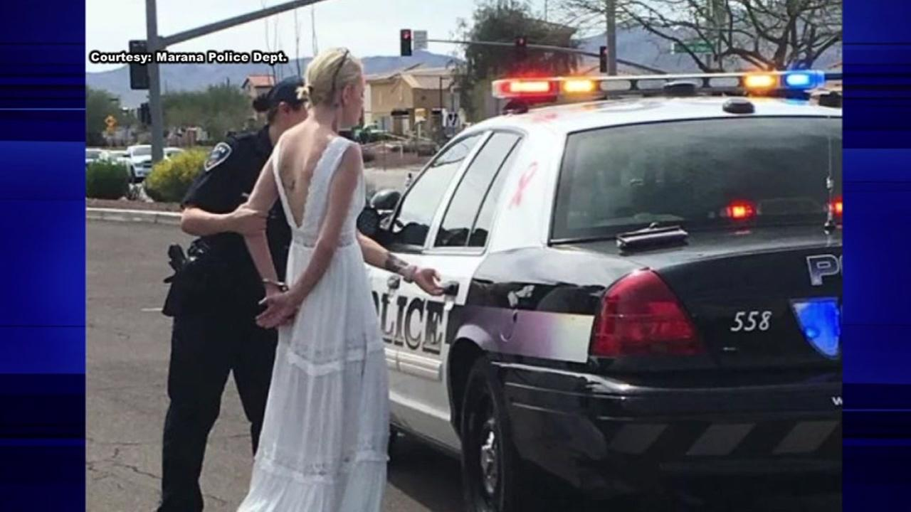 Bride arrested on the way to her wedding