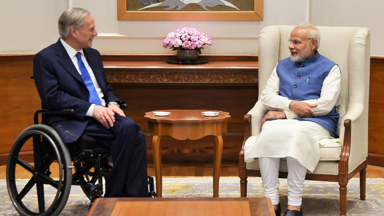Texas Gov. Greg Abbott and India Prime Minister Modi