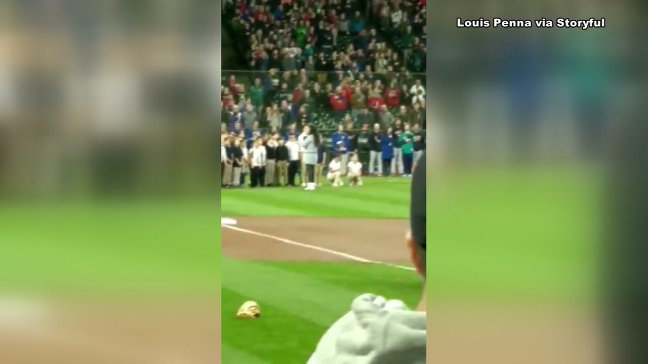 School girls kneel while performing national anthem in Seattle