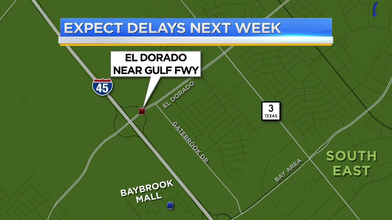 Expect delays off El Dorado near the Gulf Freeway