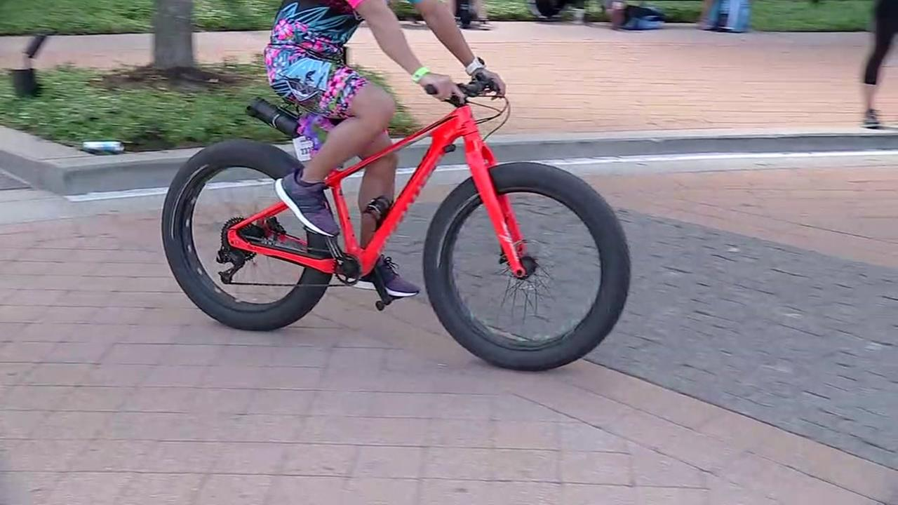 Guys riding fat tire bikes for Woodlands Ironman