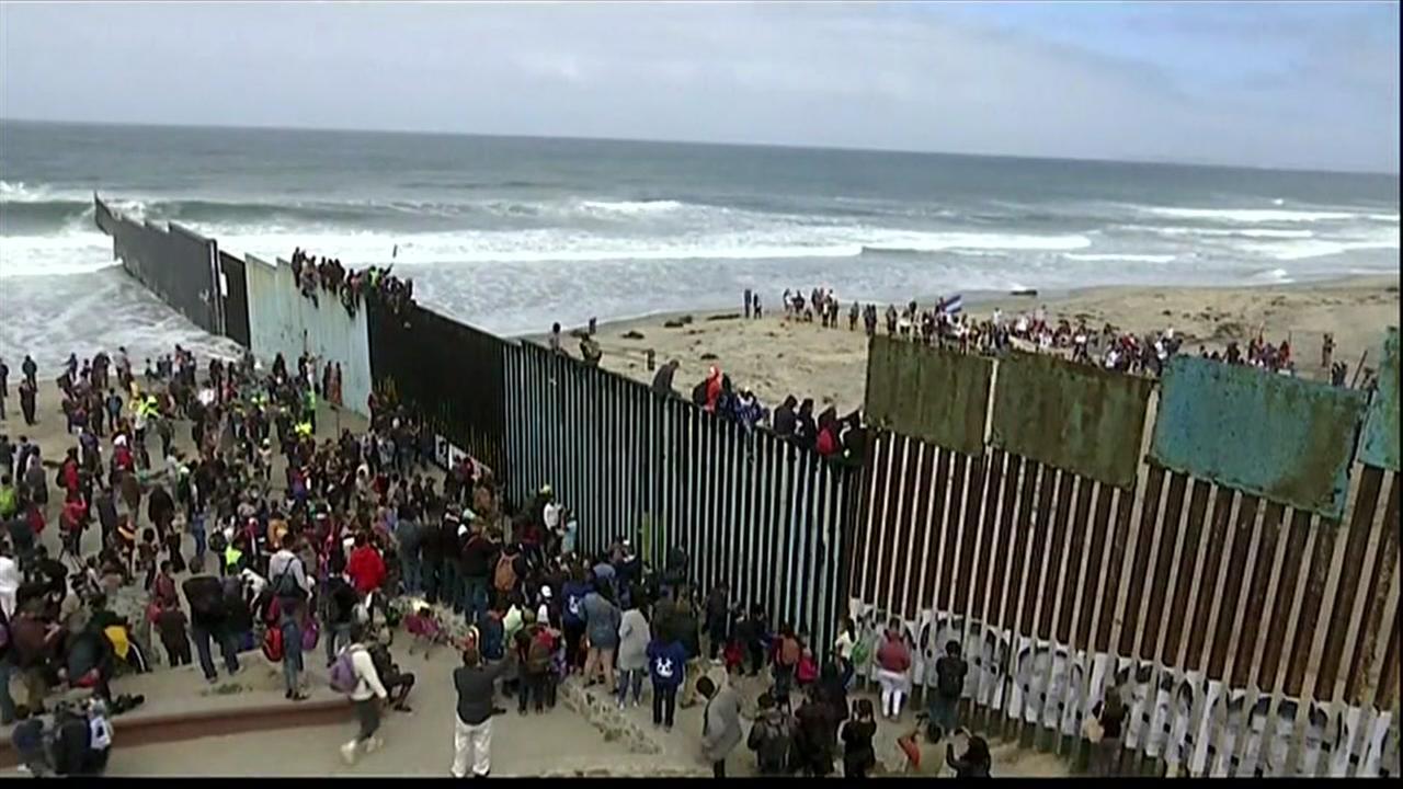 Caravan of migrants being turned away at border