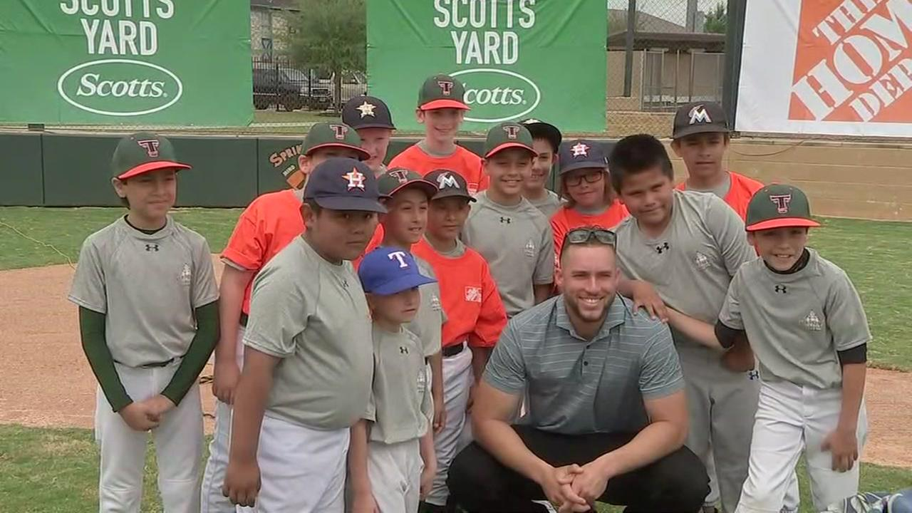 Astros George Springer helps open newly redone baseball field