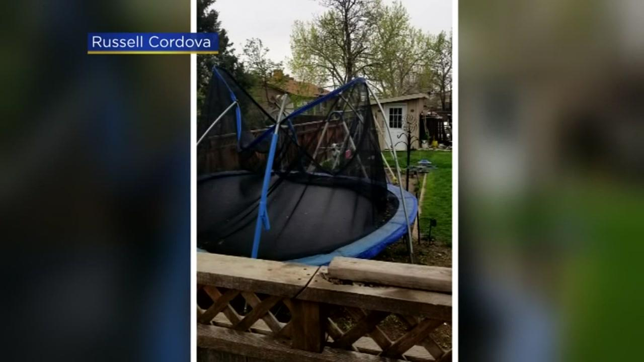Wind-blown trampoline in neighbors yard sparks ugly feud
