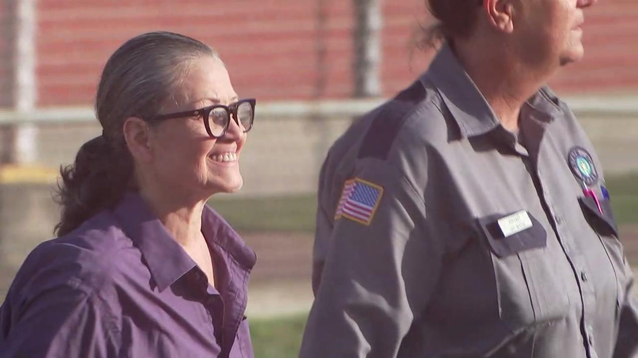 Clara Harris walks out of prison