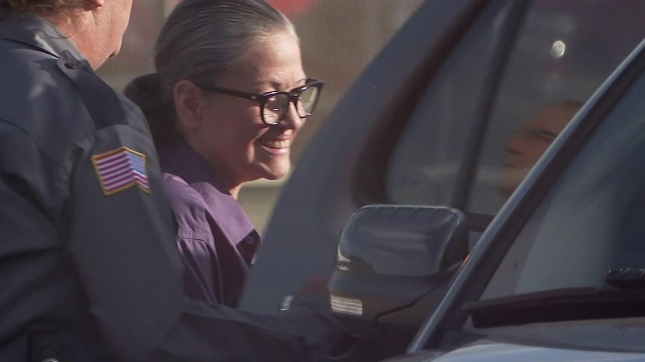 Clara Harris walks out of prison