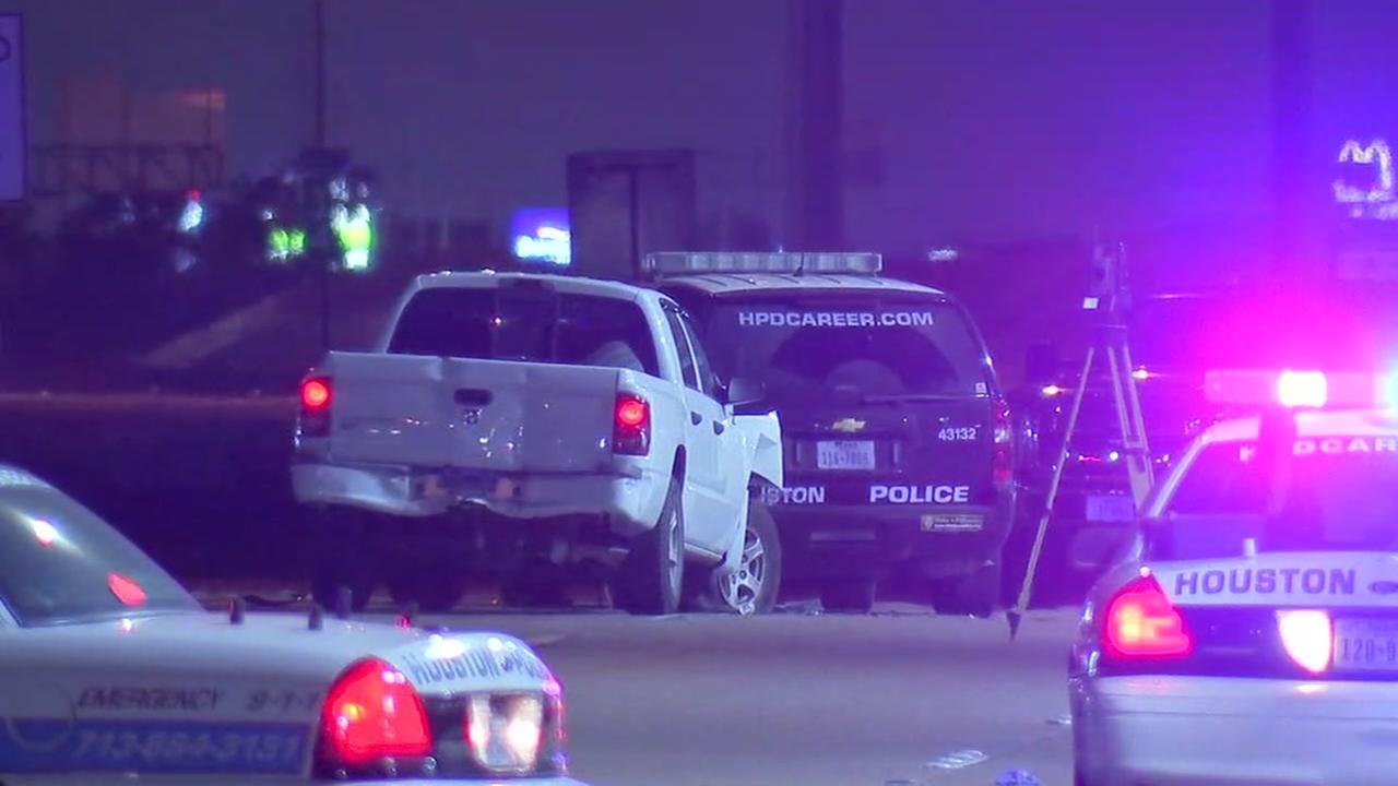 Houston police officer injured after patrol car struck from behind