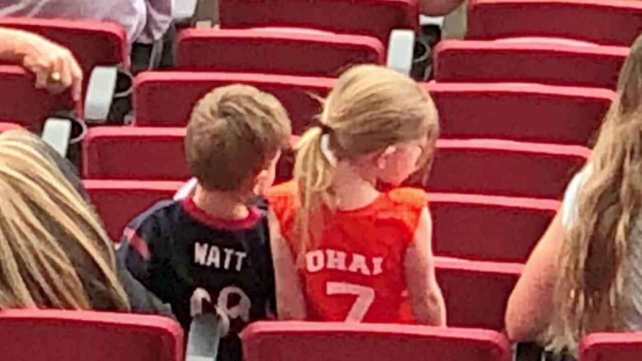J.J. Watt, Kealia Ohai meet little fans wearing their jerseys during soccer game in Utah