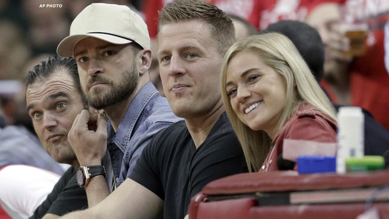 Timberlake and Watt spotted at Rockets game