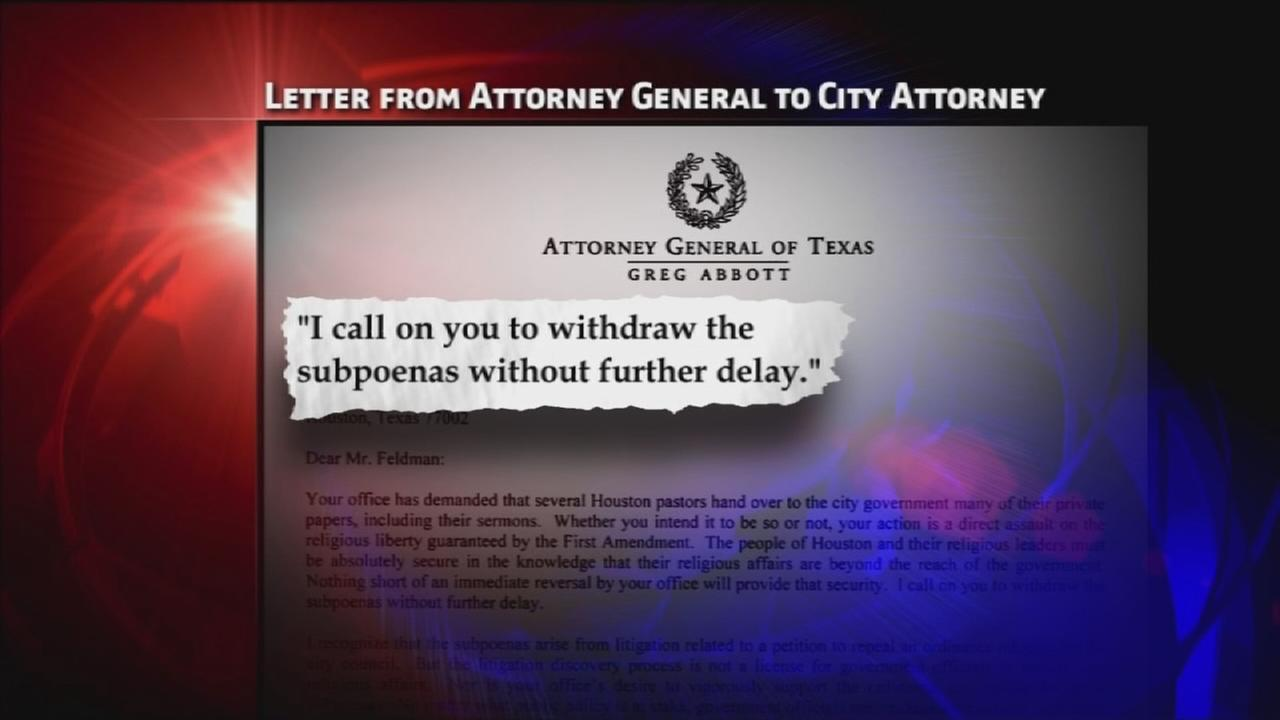 Abbott calls on Houston to withdraw sermon subpoenas