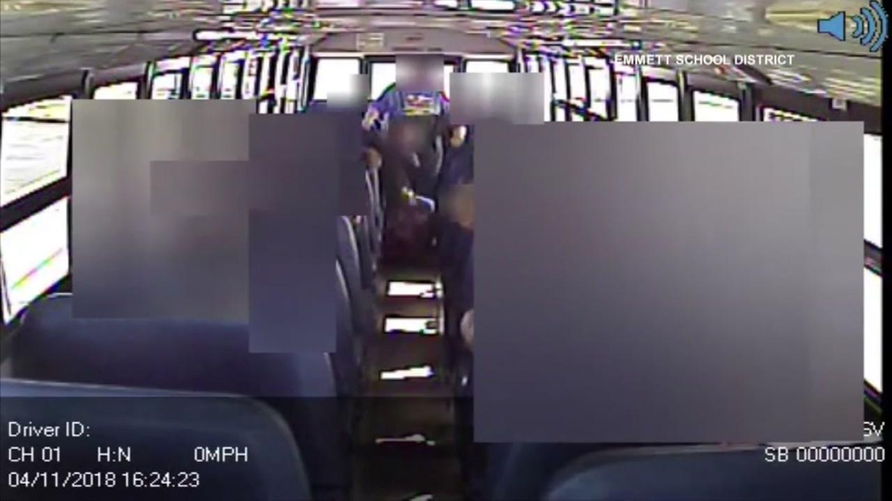 School bus dash cam video appears to show a bus driver child