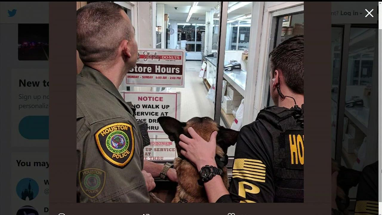 HPD officers and K9 anxiously wait for Shipleys to open for National Donut Day