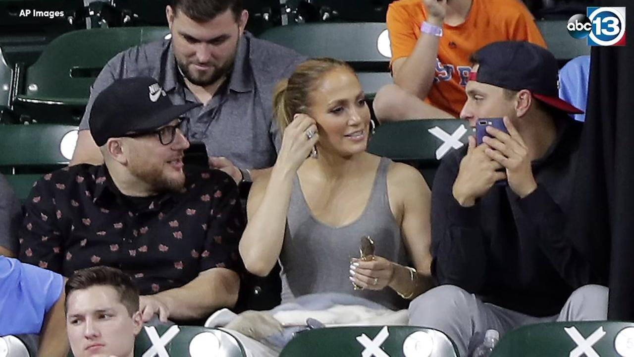 JLo watches Astros game from Crawford Boxes