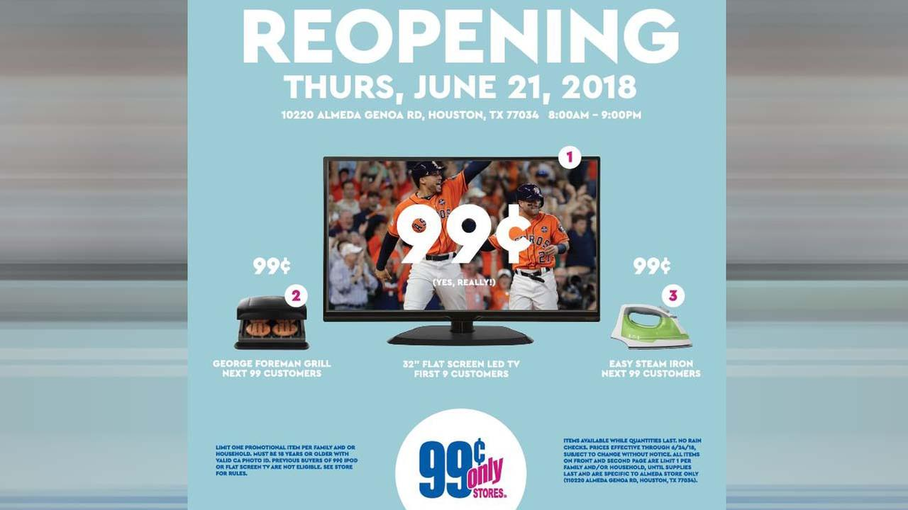 Houston store offering television for low price during re-grand opening event