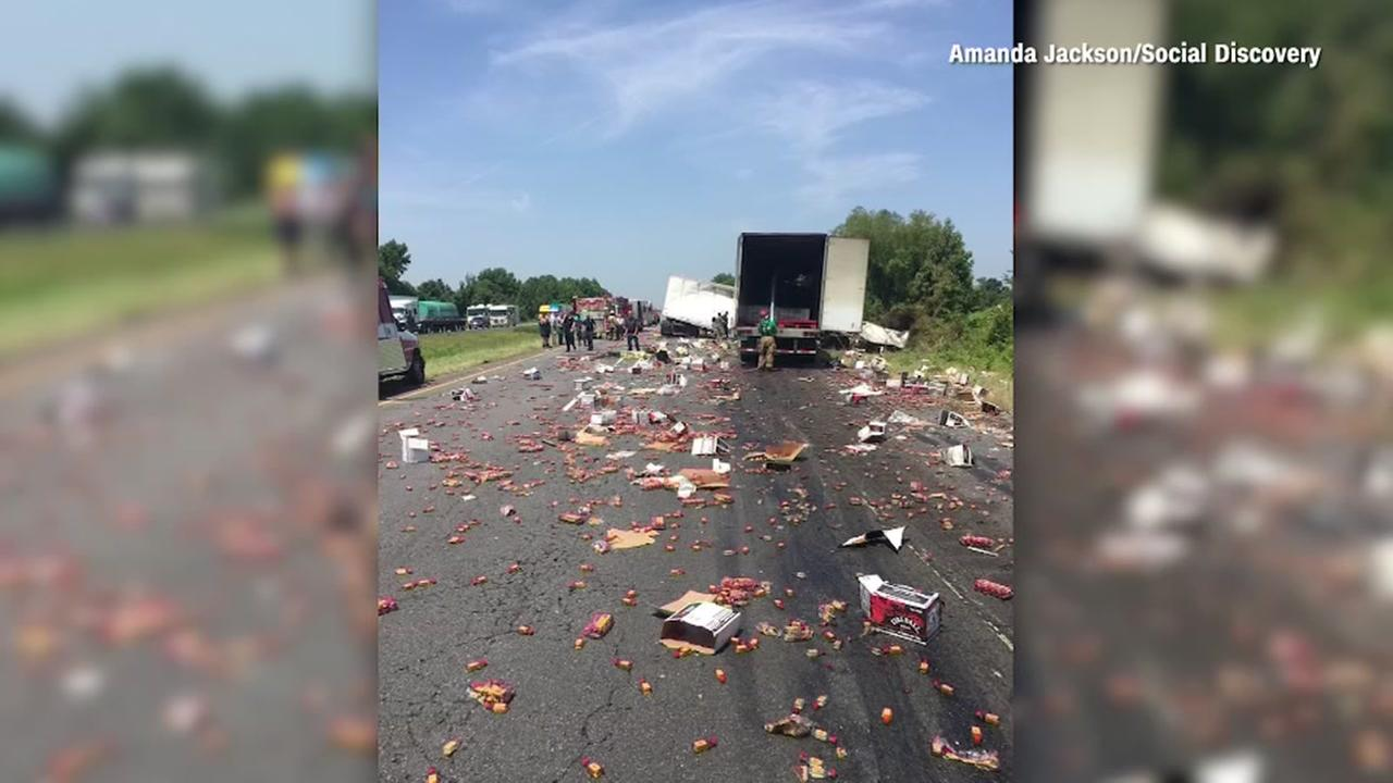 Big rig spills whiskey all over freeway