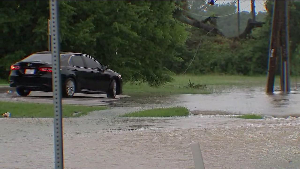 South Mayde Creek over banks amid rain