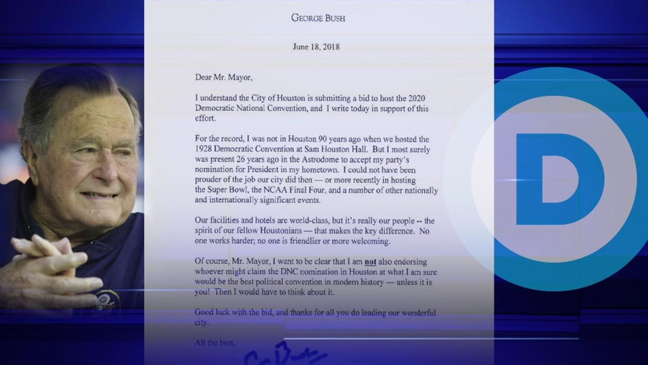 Pres HW Bush writes letter to Mayor Turner over Democratic National Convention finalist