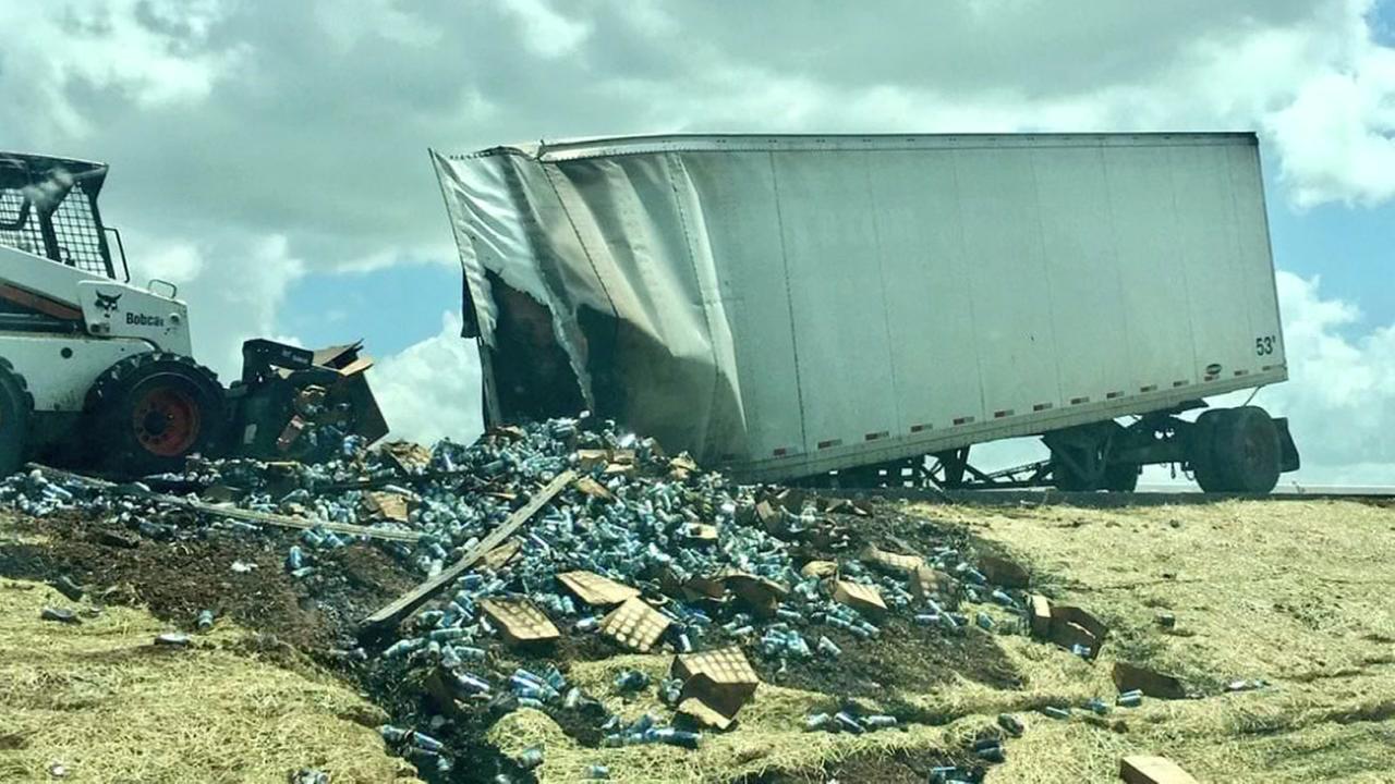 Beer truck blocks I-10 traffic after erupting in flames