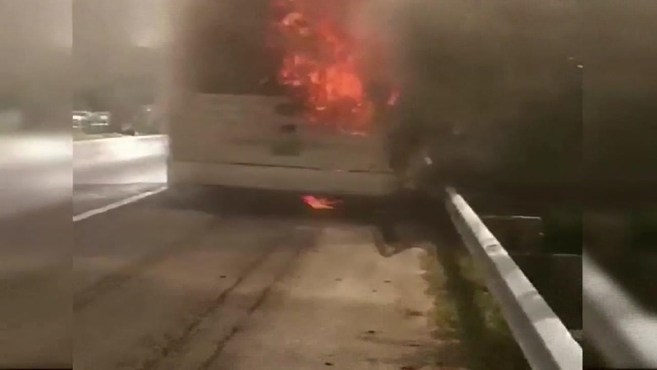 Bus carrying student campers catches onfire
