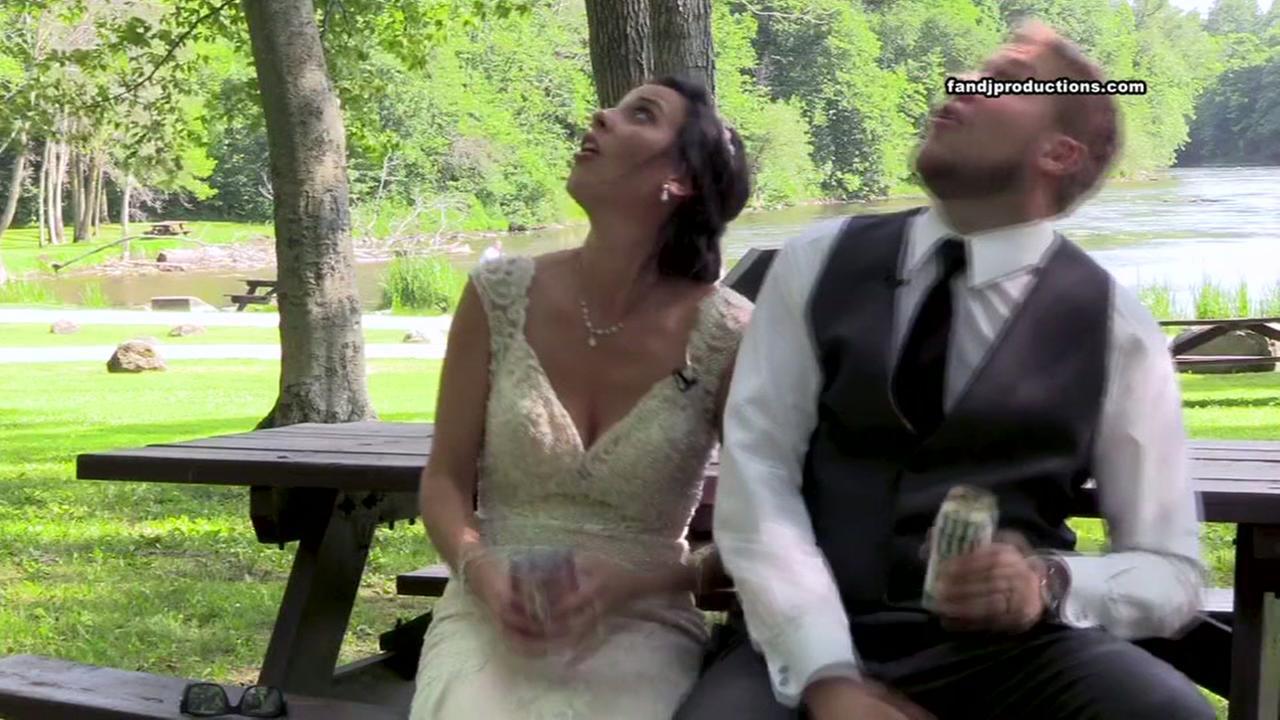 Tree branch nearly hits newlyweds